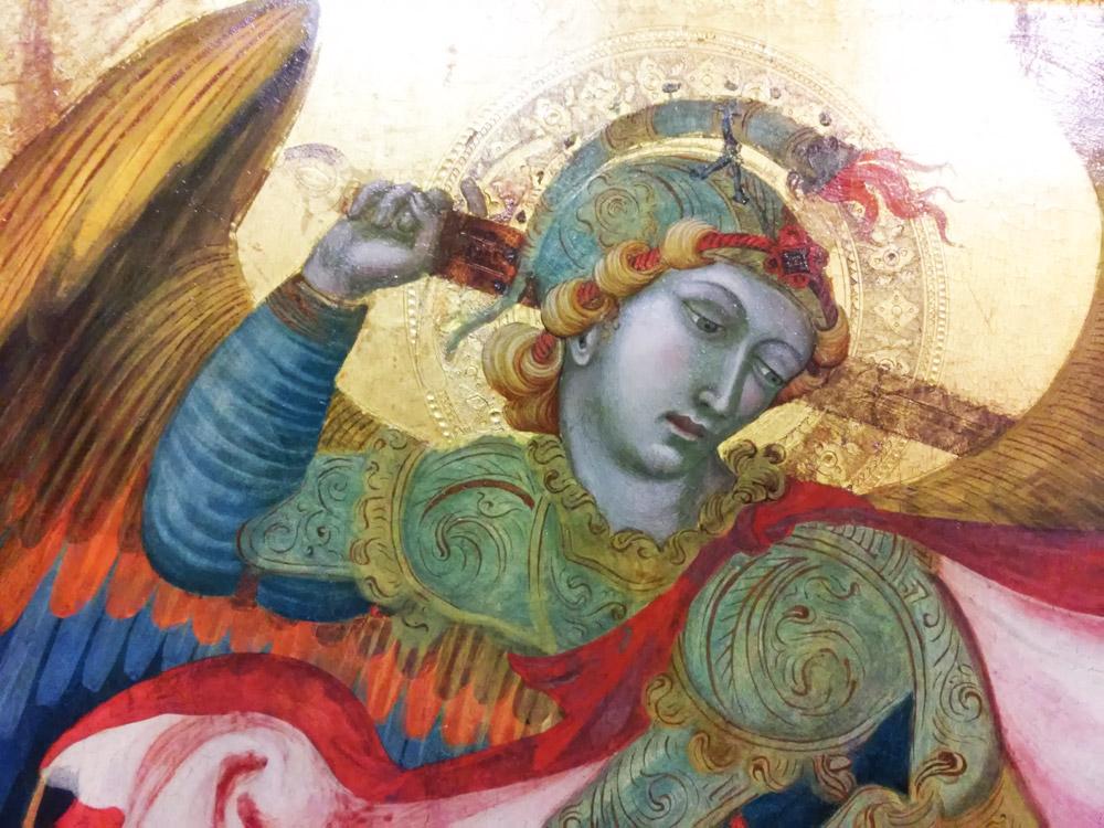 Ambrogio Lorenzetti, Trittico di Badia a Rofeno, volto di san Michele