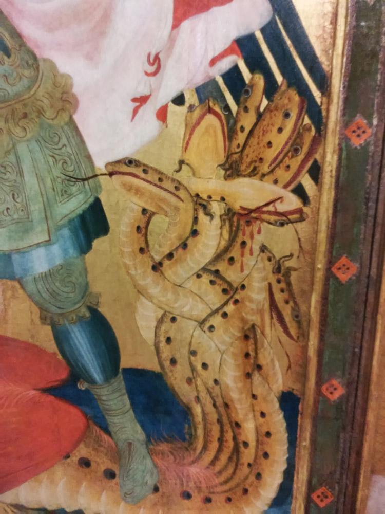 Ambrogio Lorenzetti, Trittico di Badia a Rofeno, dettaglio del drago a sette teste