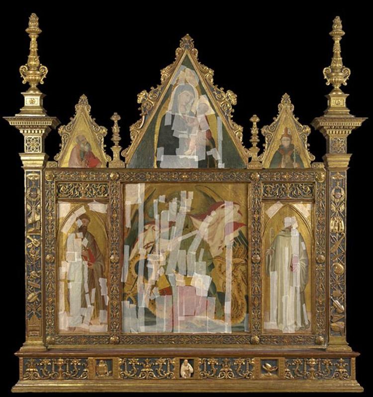 Il trittico di Badia a Rofeno nella cornice cinquecentesca durante la velinatura