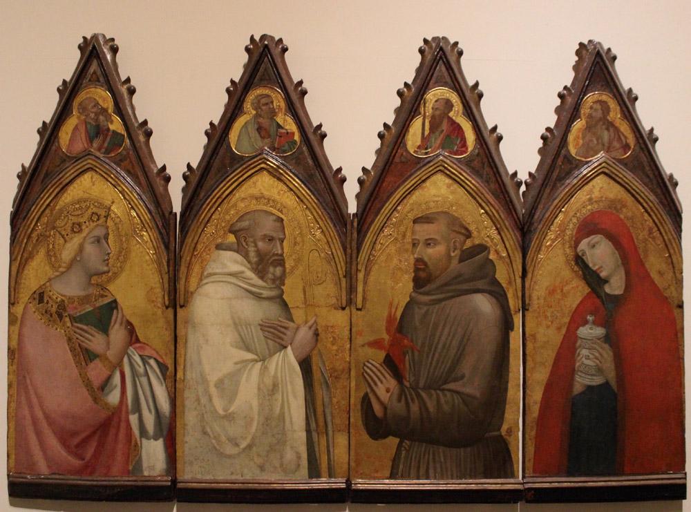 Ambrogio Lorenzetti, Quattro scomparti di polittico: santa Caterina d'Alessandria, san Benedetto, san Francesco, santa Maria Maddalena