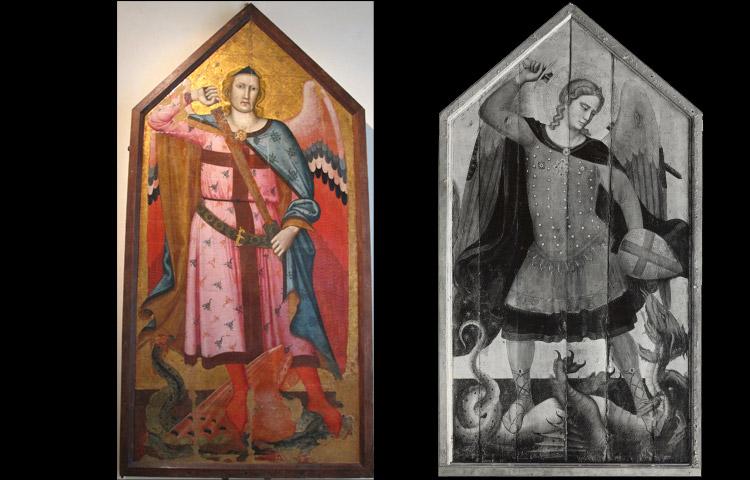 A sinistra: Buffalmacco, San Michele. A destra: Bernardo Daddi, San Michele