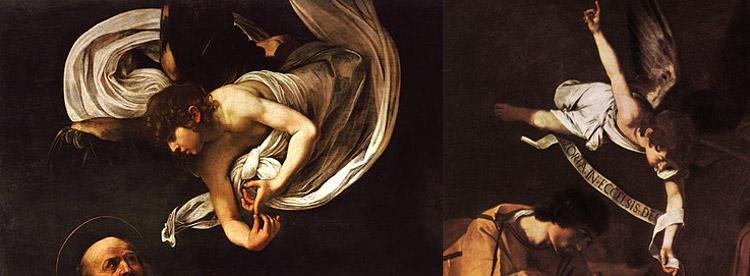 Confronto tra l'angelo del san Matteo e l'angelo della Natività di Palermo