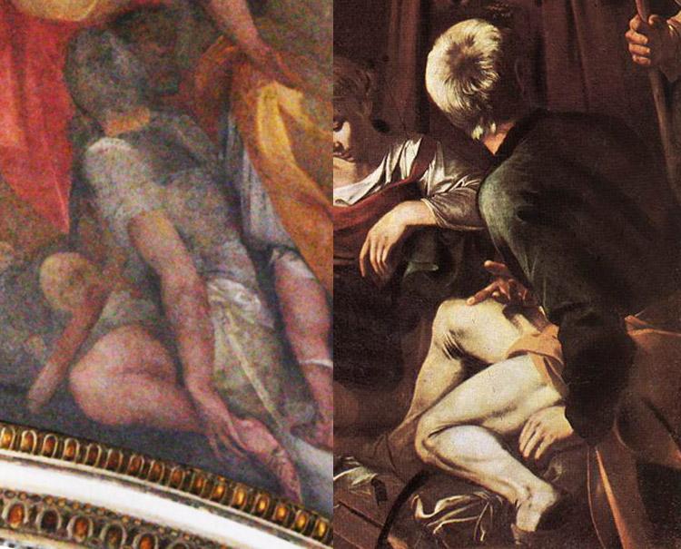 Confronto tra il soldato del Cavalier d'Arpino e il san Giuseppe di Caravaggio