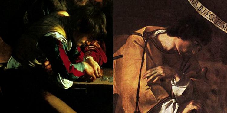 Confronto tra l'uomo nella Vocazione di san Matteo e il san Lorenzo della Natività