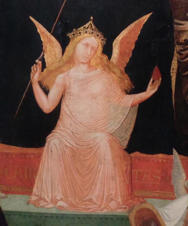La Maestà di Massa Marittima, dettaglio della figura della Carità