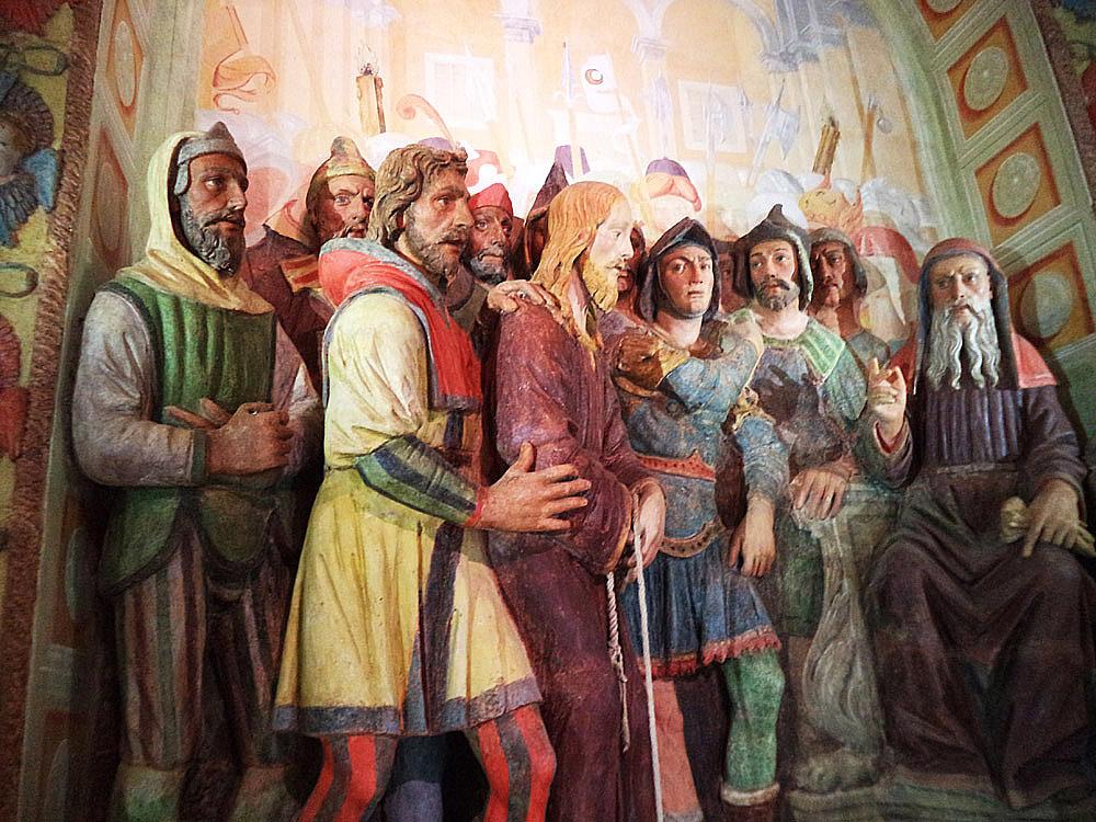 Gesù davanti ad Anna, dettaglio
