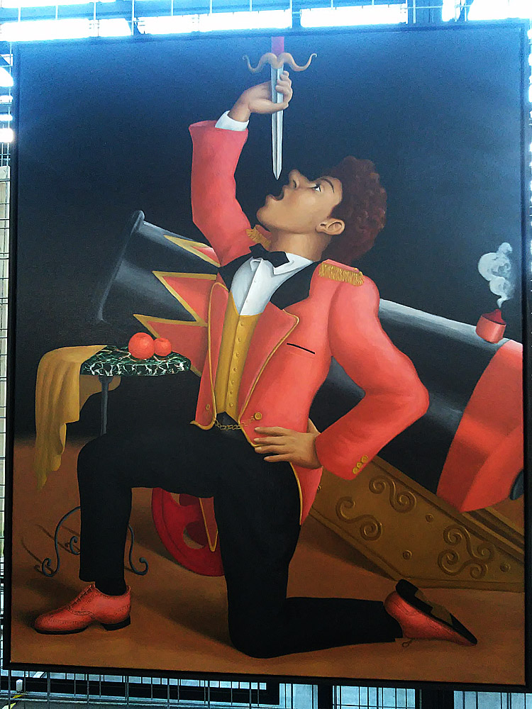 Patrizio Di Massimo, The Sword Swallower (2017; olio su tela di lino, 153,5 x 123,5 cm)