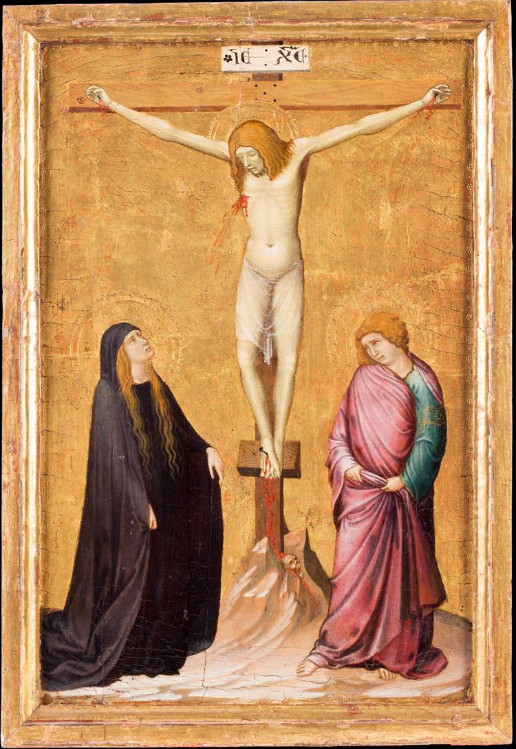 Ambrogio Lorenzetti, Crocifisso con Maria e san Giovanni evangelista dolenti