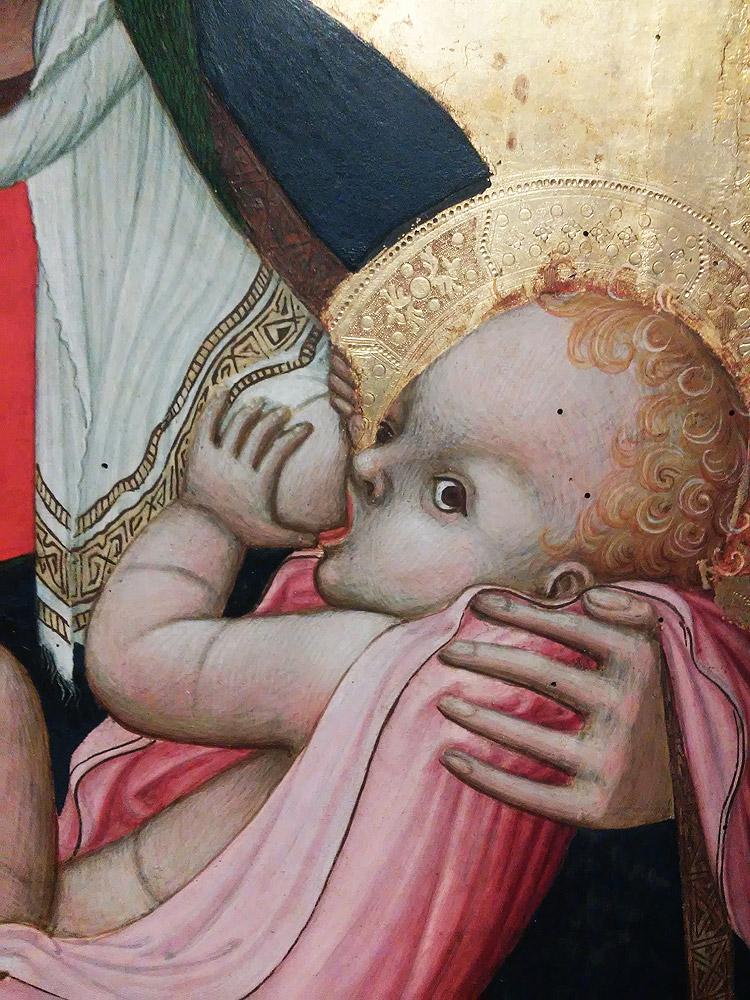 Ambrogio Lorenzetti, Madonna del latte, particolare