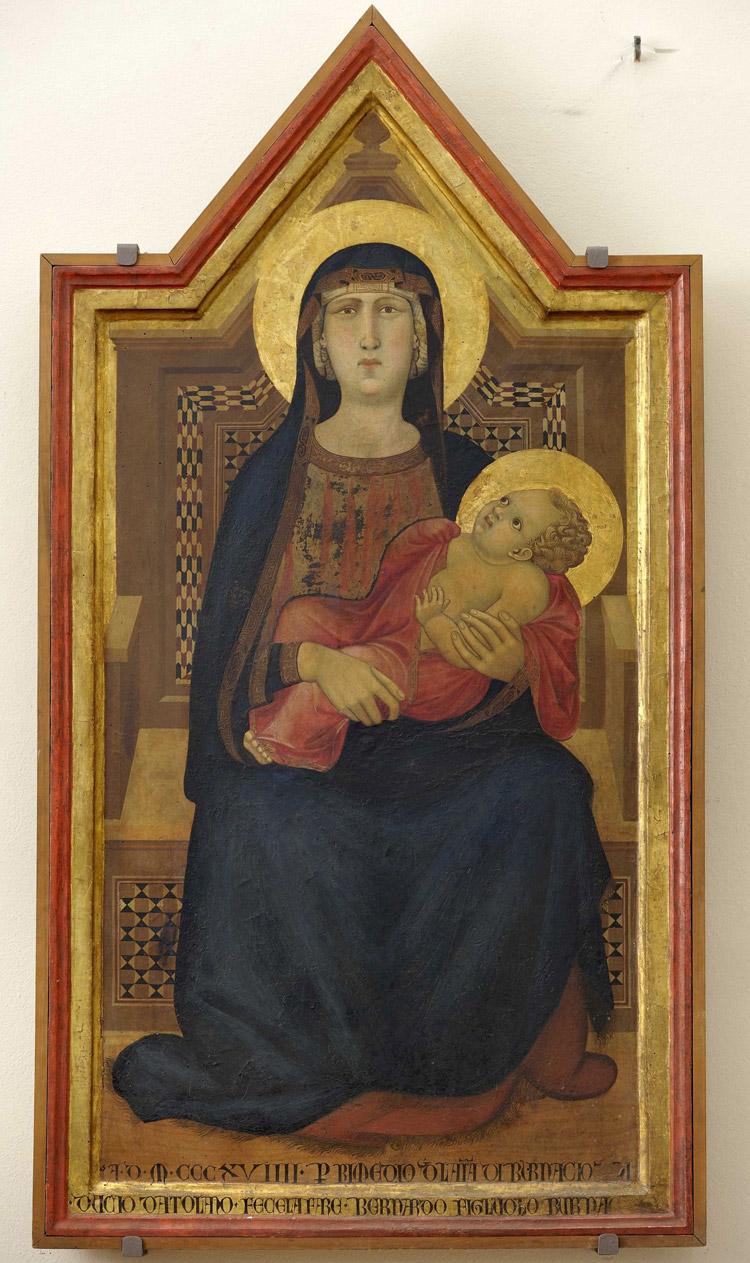 """Ambrogio Lorenzetti, Madonna col Bambino in trono (1319; tempera e oro su tavola, 148,5 x 78 cm; San Casciano in Val di Pesa, Museo d'Arte Sacra """"Giuliano Ghelli"""")"""