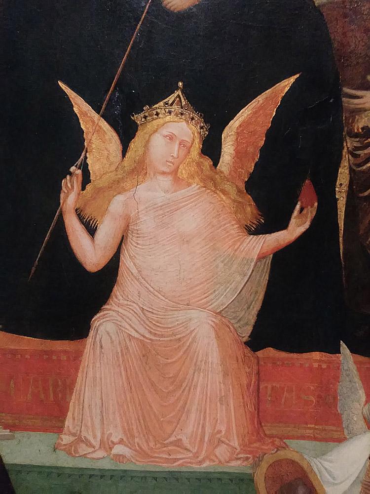 Ambrogio Lorenzetti, Maestà, dettaglio della figura della Carità