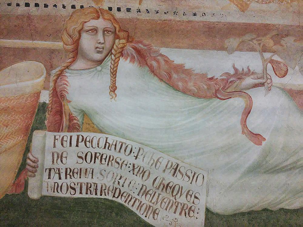 Ambrogio Lorenzetti, Affreschi di Montesiepi, dettaglio della figura di Eva