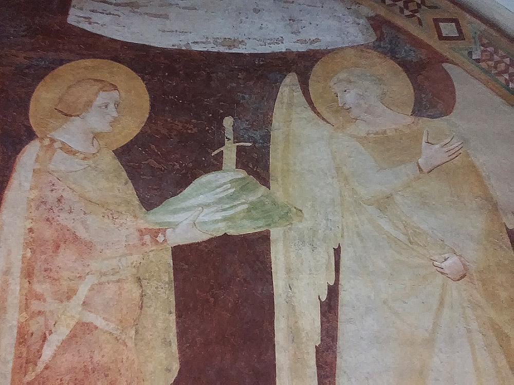 Ambrogio Lorenzetti, Affreschi di Montesiepi, dettaglio dell'incontro tra san Galgano e san Michele