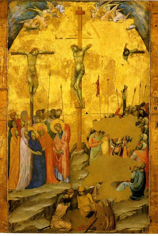 Duccio di Buoninsegna, Storie della Passione, dettaglio con la scena della Crocifissione