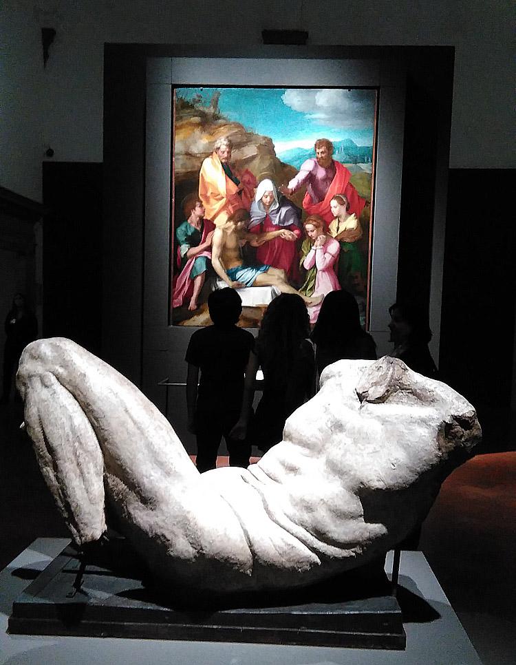 Il Dio fluviale di Michelangelo e la Pietà di Luco di Andrea del Sarto alla mostra sul Cinquecento fiorentino a Palazzo Strozzi a Firenze