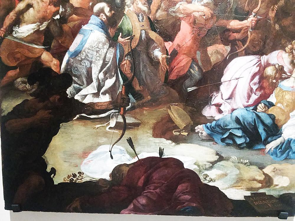 Dettaglio del primo piano del Martirio di sant'Orsola