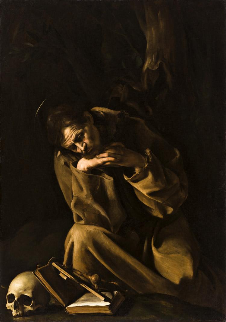 Caravaggio, San Francesco in meditazione