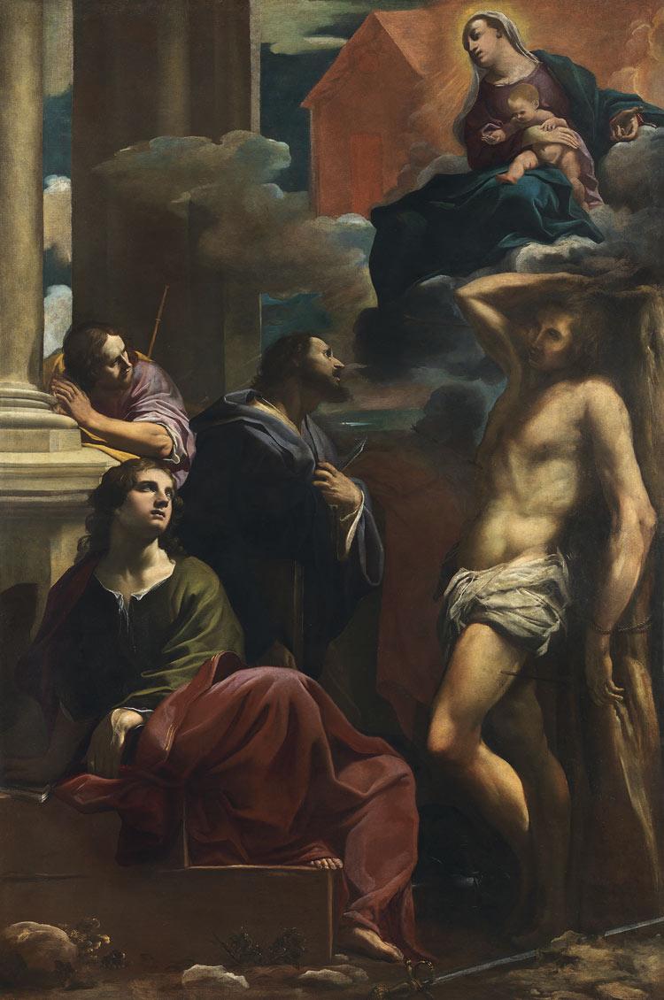 Carlo Bononi, Apparizione della Madonna di Loreto ai santi Giovanni Evangelista, Giacomo Maggiore, Bartolomeo e Sebastiano