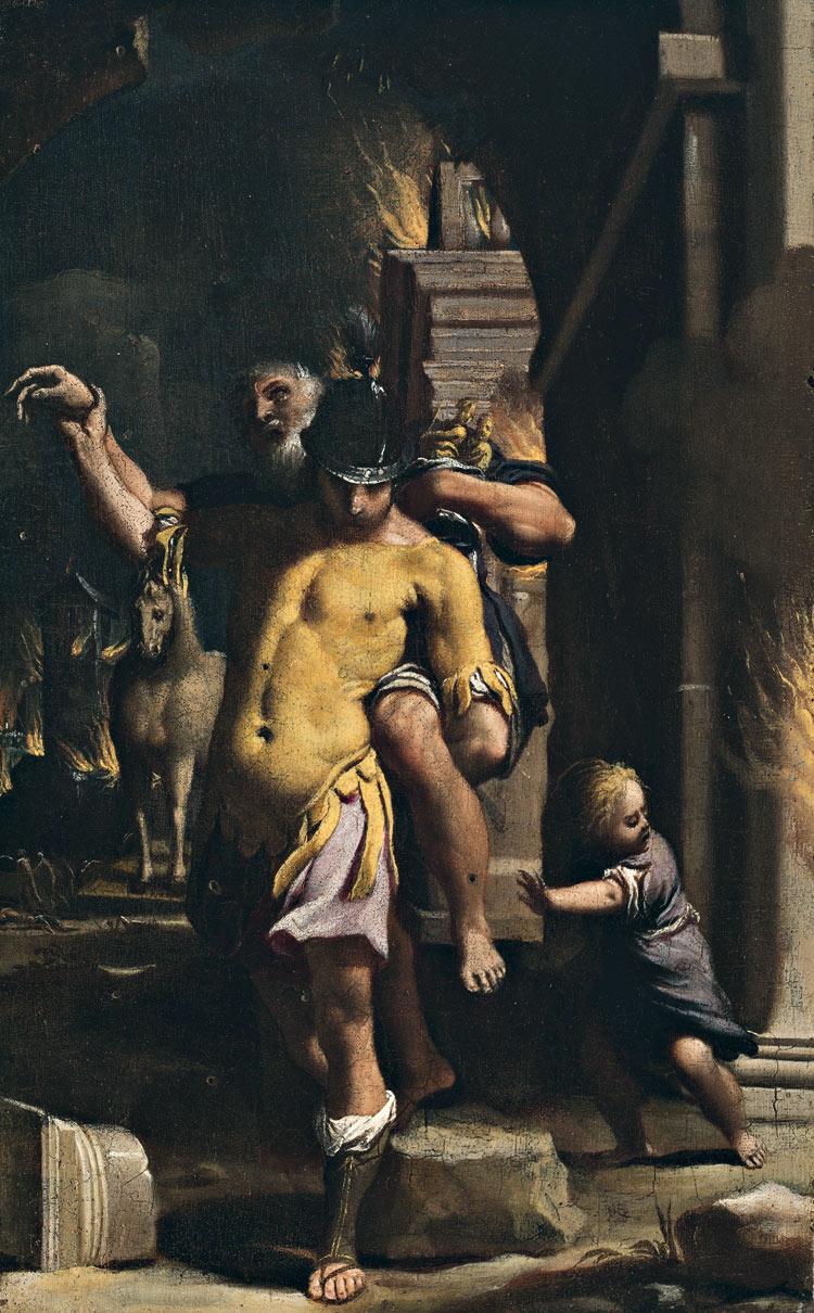 Carlo Bononi, Enea fugge da Troia in fiamme con Anchise e Ascanio