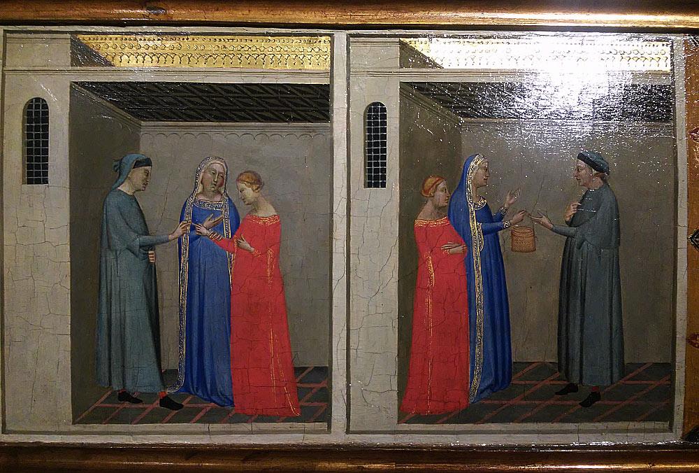 Bernardo Daddi, Fidanzamento di Michele con Maria e La madre della sposa che consegna a Michele la cesta con la cintola come dote