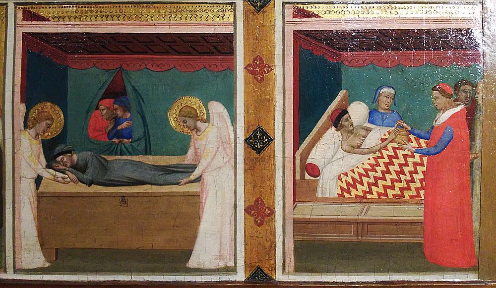 Bernardo Daddi, Michele spostato dagli angeli e Consegna della cintola al proposto Uberto