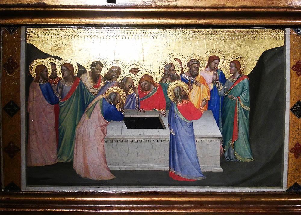 Bernardo Daddi, Apostoli attorno al sepolcro vuoto della Vergine e san Tommaso che mostra la cintola