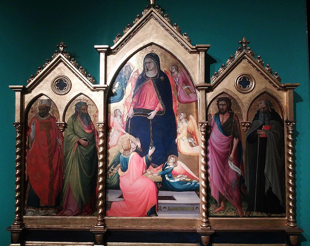 Bicci di Lorenzo, La Madonna assunta che dona la cintola a san Tommaso con angeli e serafini tra san Nicola di Bari, sant'Andrea, san Giovanni Battista e sant'Antonio abate