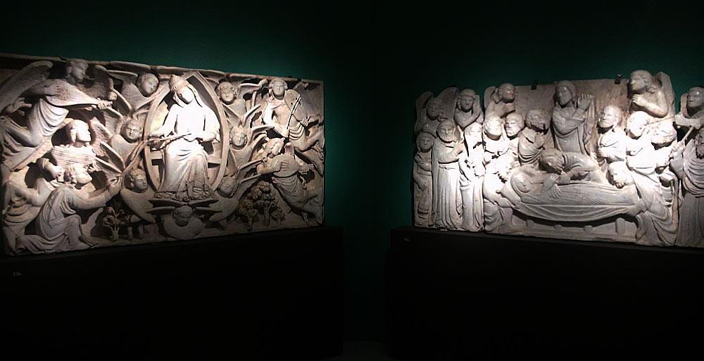Niccolò di Cecco del Mercia, La Madonna assunta che dona la Cintola a san Tommaso (a sinistra) e Dormitio Virginis (a destra)