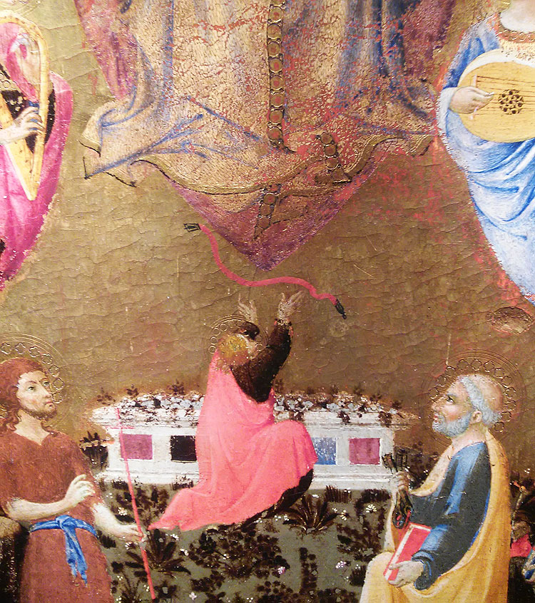 Sano di Pietro, La Madonna assunta tra angeli musicanti che dona la cintola a san Tommaso tra santi, particolare