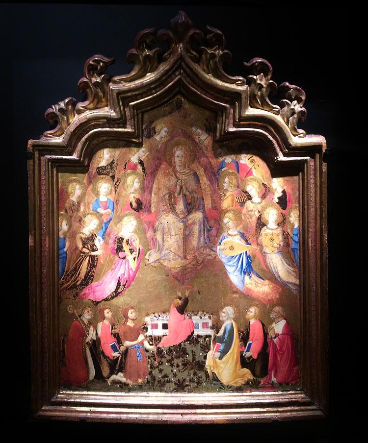 Sano di Pietro, La Madonna assunta tra angeli musicanti che dona la cintola a san Tommaso tra santi