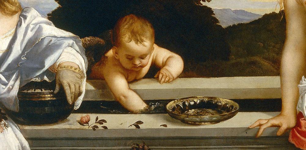 Cupido mescola le acque della vasca