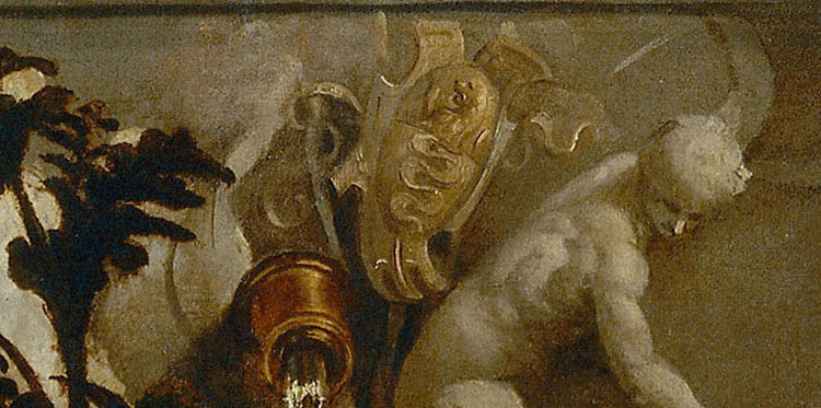 Lo stemma di Niccolò Aurelio al centro della vasca