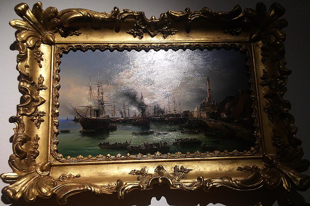 Leopoldina Zanetti Borzino, Le truppe francesi sbarcano nel porto di Genova, veduta dal bacino del Molo Nuovo