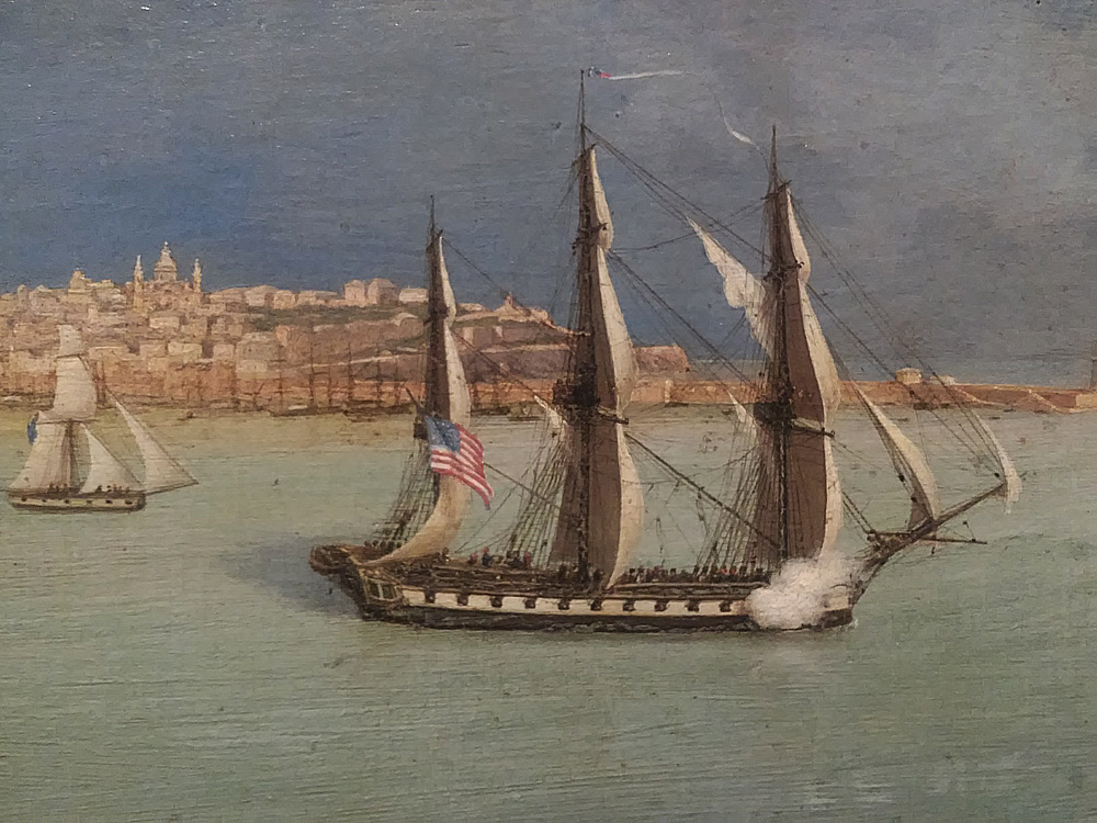 Luigi Garibbo, Sampierdarena veduta da San Benigno. Particolare della nave