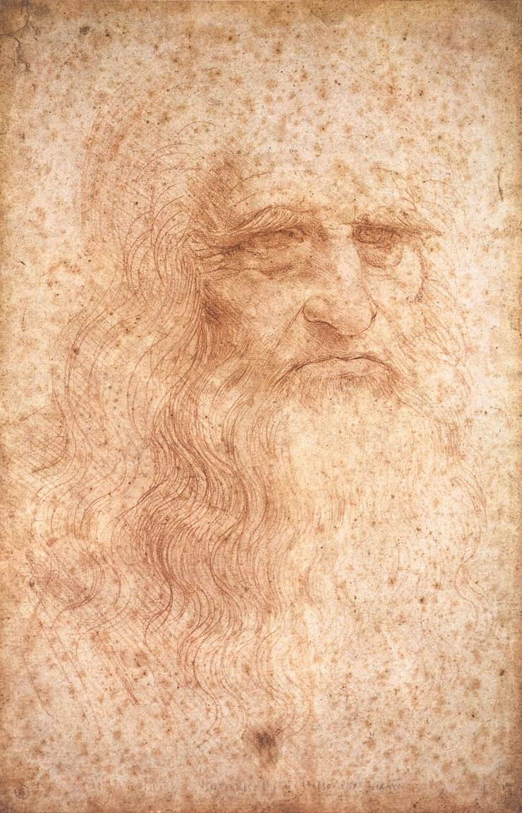 Leonardo da Vinci, Ritratto d'uomo noto come Autoritratto (1515 circa; sanguigna su carta, 33,5 × 21,6 cm; Torino, Biblioteca Reale)