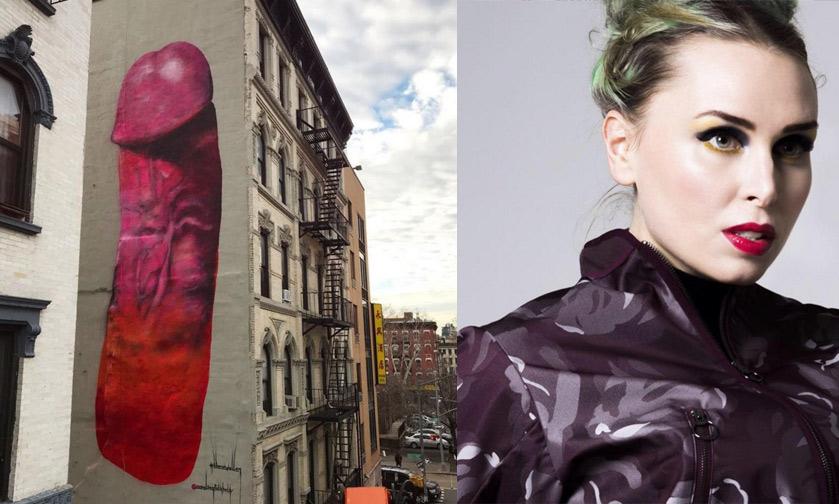New York: artista dipinge fallo di dieci metri su edificio. Ma viene subito coperto