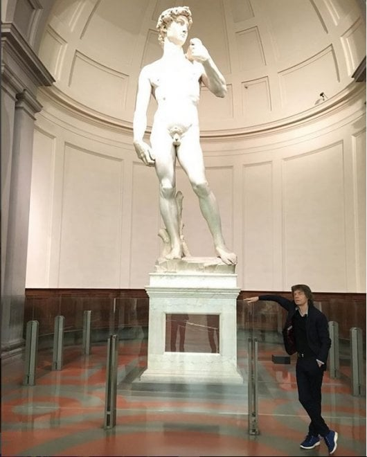 Mick Jagger visita in segreto la Galleria dell'Accademia di Firenze