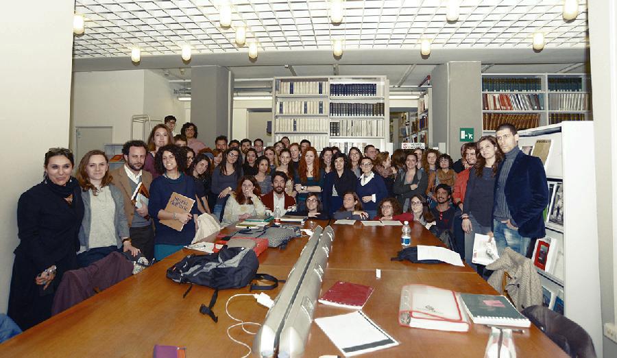 Gli studenti di storia dell'arte di Torino in occasione della protesta del 2015