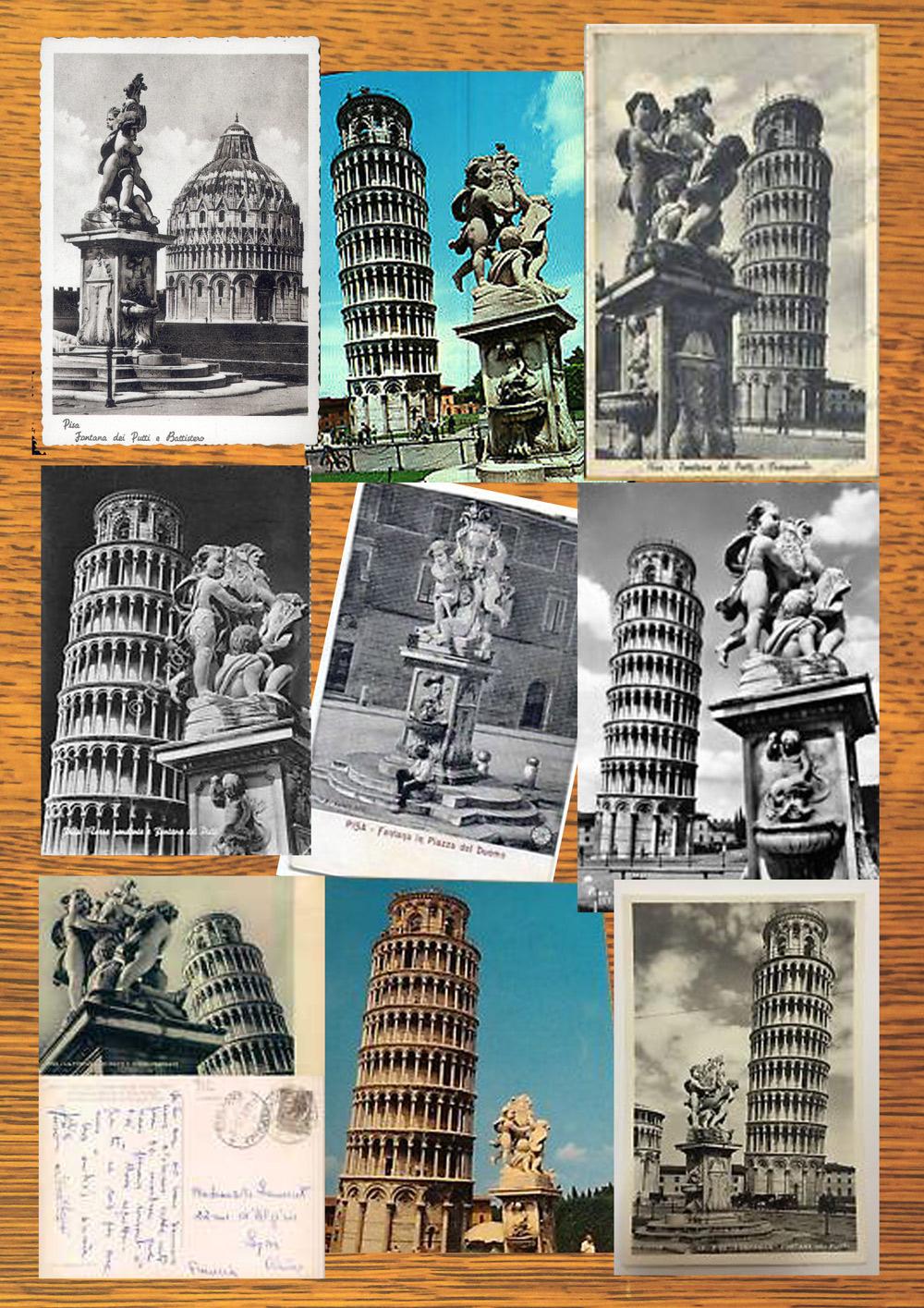 Cartoline di Pisa con la Fontana dei Putti