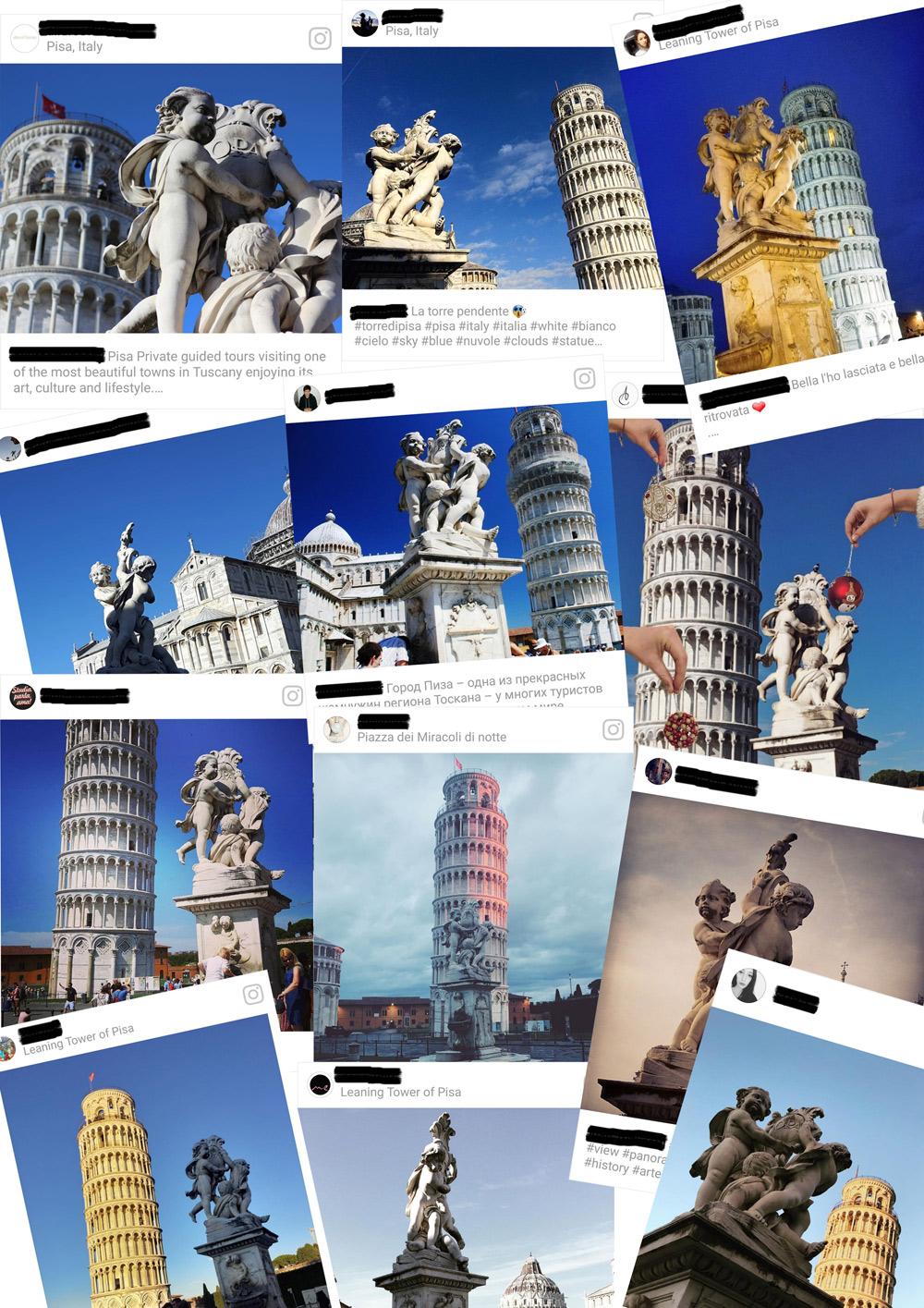 Collage con foto della fontana tratte da Instagram