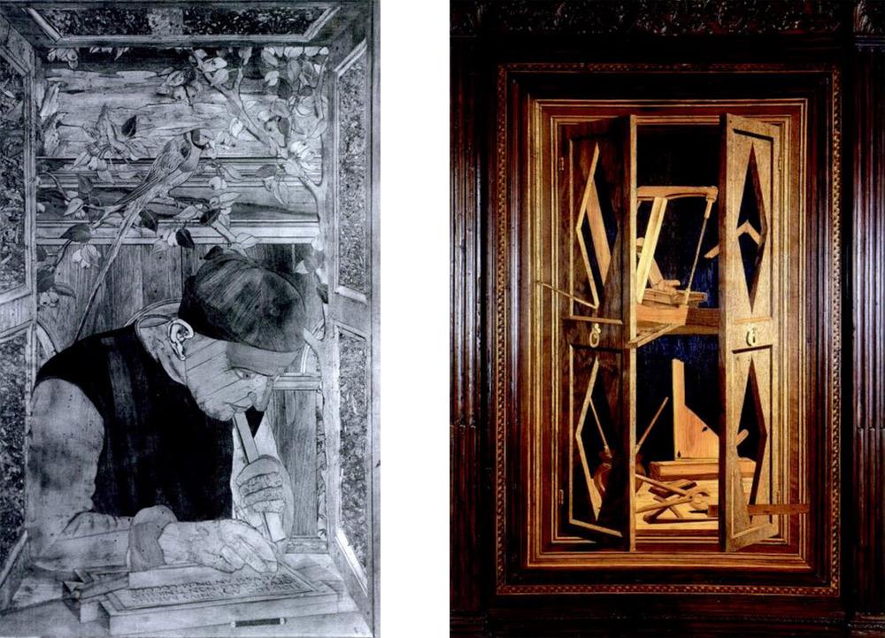 Il pannello con l'autoritratto di Antonio Barili (già a Vienna, Museum für angewandte Kunst; distrutto durante la seconda guerra mondiale) e quello con l'armadio degli utensili