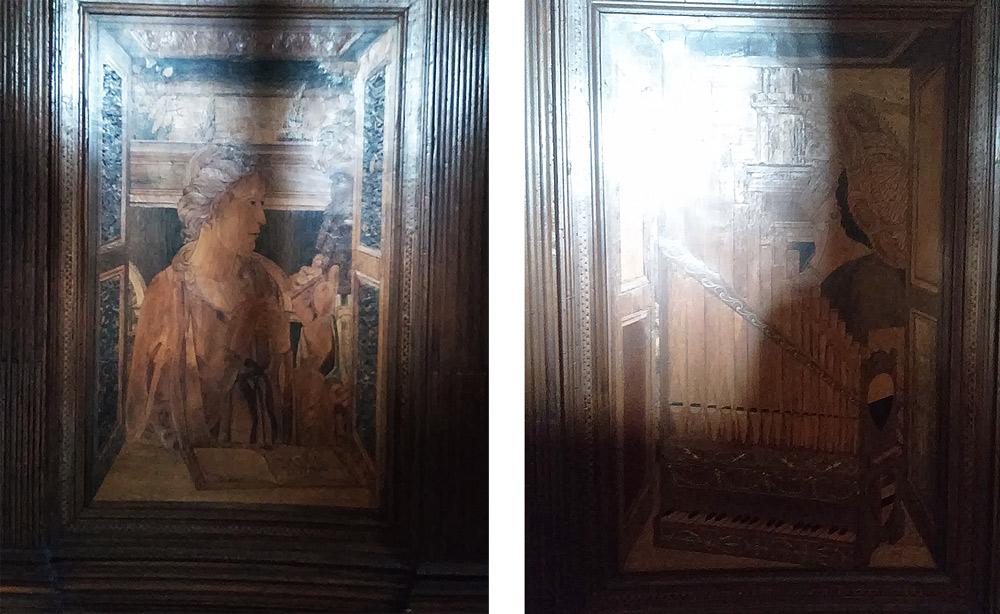 Il pannello con santa Caterina d'Alessandria e quello con il corpo di organi