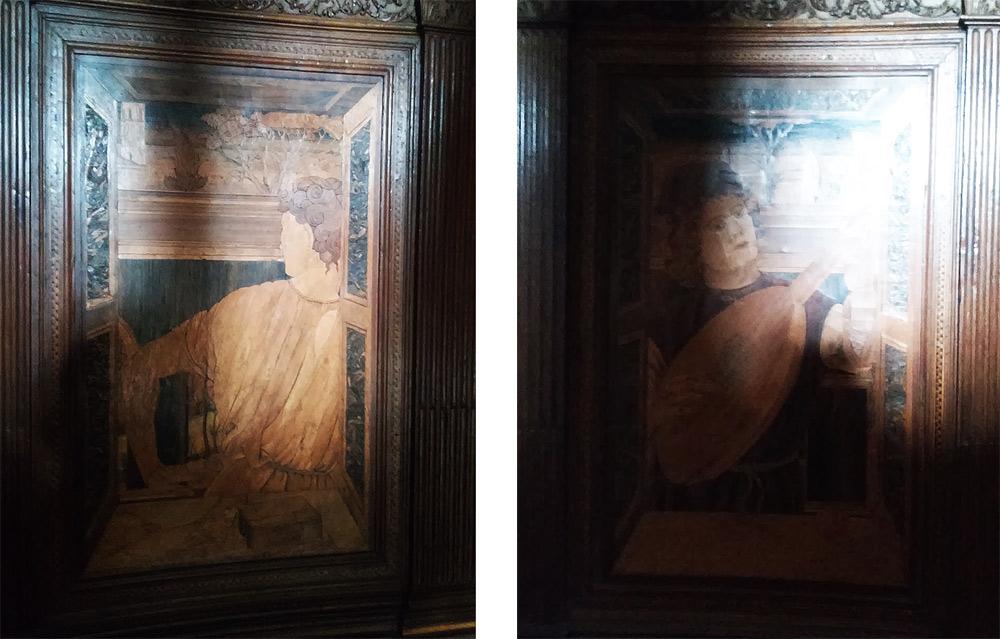 Il pannello con il discepolo di Giovanni Battista e quello con l'uomo col liuto
