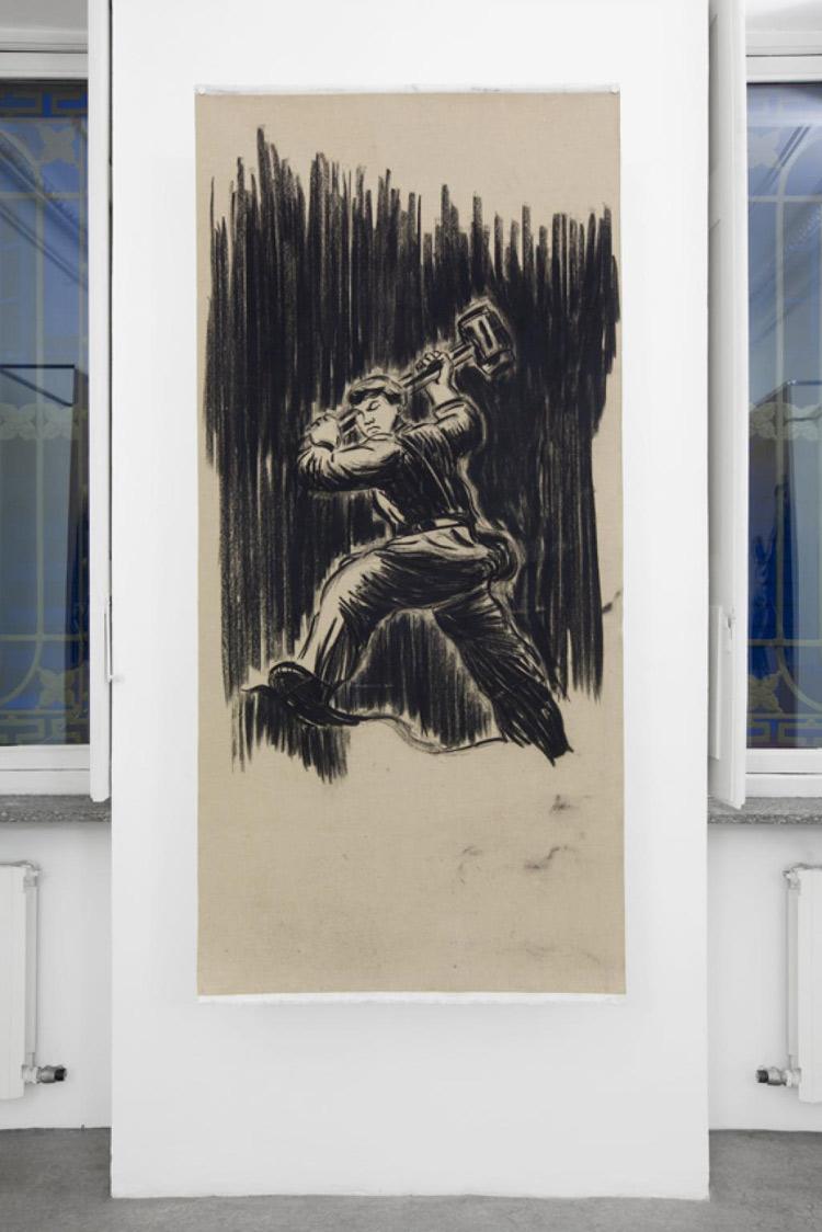 Cosimo Veneziano, Giorni di un futuro passato (2017; carboncino su tela, 100 x 200 cm; Courtesy Alberto Peola Artecontemporanea)
