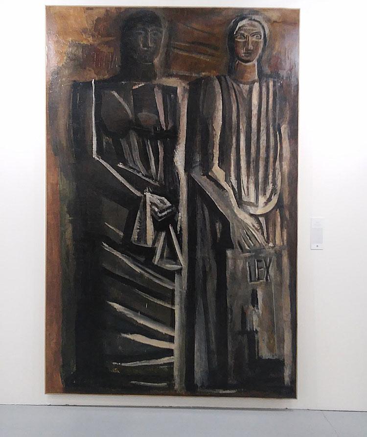 Mario Sironi, La Giustizia e la Legge (1936-1937; tecnica mista su carta da spolvero applicata su tela, 340 x 230 cm)