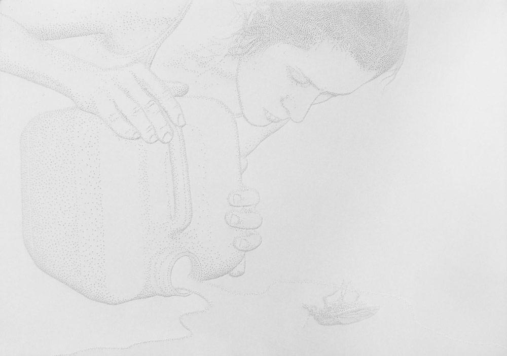 Amparo Sard, Senza titolo (2017; carta perforata, 32,5 x 46 cm)