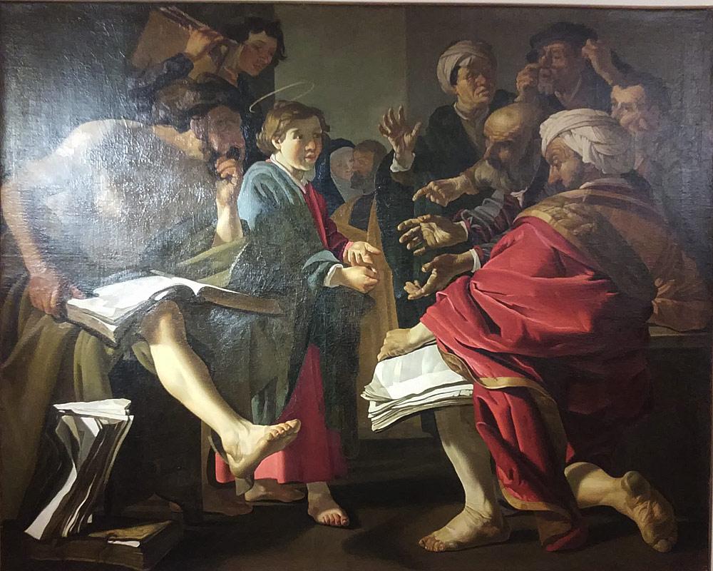 Dirck Van Baburen, Cristo fra i Dottori (1619-1620 circa; olio su tela, 170 x 210 cm; Roma, Museo Nazionale del Palazzo di Venezia)