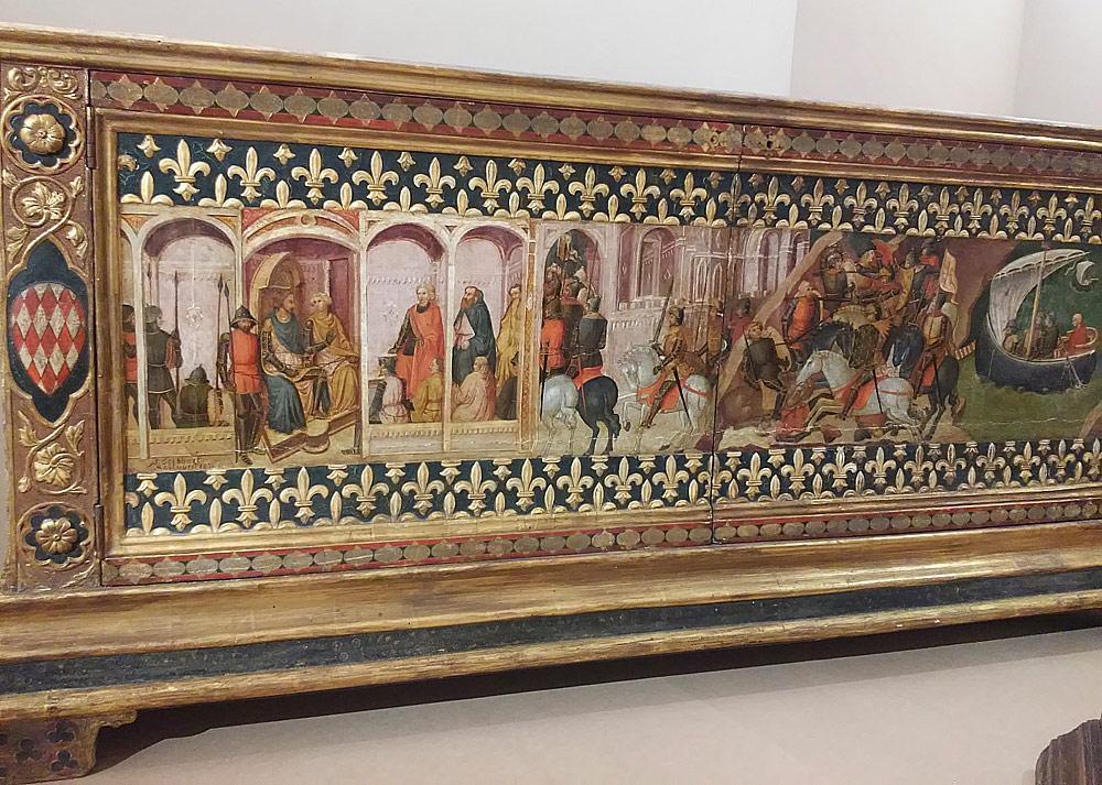 Mariotto di Nardo, Costantino Buonini, Frederick Stibbert, Storie di crociati? (1385-1390 circa e 1870-1871; cassone ligneo e tempera su tavola; Firenze, Museo Stibbert)