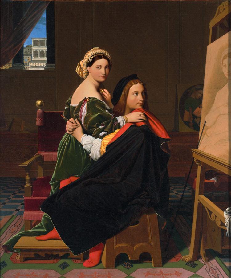 Jean-Auguste-Dominique Ingres, Raffaello e la Fornarina (1814; olio su tela, 64,77 x 53,34 cm; Cambridge, Massachussets, Fogg Art Museum)