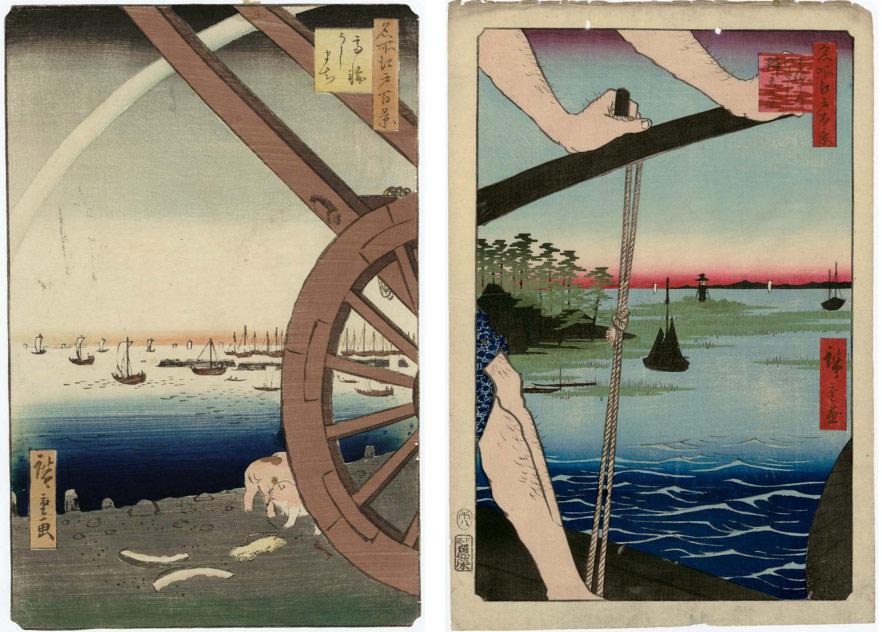 A sinistra: Utagawa Hiroshige, Takanawa Ushimachi. A destra: Utagawa Hiroshige, Haneda no watashi Benten no yashiro